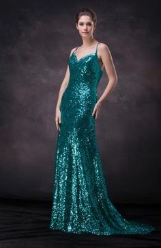 Spaghetti Strap Sexy Prom Dresses - Order Link: http://www.theweddingdresses.com/spaghetti-strap-sexy-prom-dresses-twdn7786.html - Embellishments: Paillette , Sequin; Length: Court Train; Fabric: As pictures; Waist: Natural - Price: 165.49USD