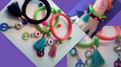 Three Hair Band and Bracelet Set Detachable Peace Charm 12 mm Snap Ginger Popper Noosa Button Socket Beads Seamless Hair Ropes Ties Tassels