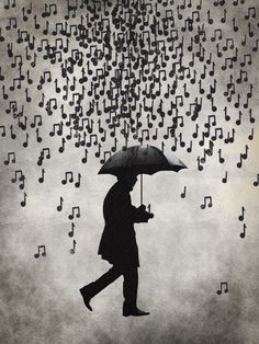 Music notes in the rain. I love to hear what tune it plays when it hits the umbrella. Singing In The Rain, Illustration, Music Quotes, Film Quotes, Piano Quotes, Belle Photo, Music Is Life, Jazz, Cool Art