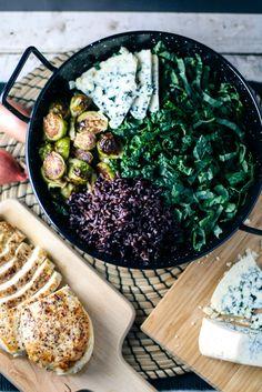 Winter Chicken & Kale Salad with feta instead and mushroom bacon quinoa
