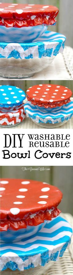 How to Make Washable Reusable Bowl Covers tutorial- a DIY sewing project perfect for summer, picnics, and cookouts. These bowl covers are washable, reusable, and even reversible. These DIY Bowl Covers are so cute! Definitely making them for our potlucks! Diy Sewing Projects, Sewing Projects For Beginners, Sewing Hacks, Sewing Tutorials, Sewing Crafts, Craft Projects, Sewing Patterns, Sewing Tips, Sewing Ideas