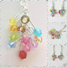Detalles de Pendientes arcoiris con cuentas CZ multicolor. Rainbow colorful…