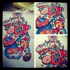 Candy sleeve tattoo for my left bicep Dream Tattoos, Future Tattoos, Life Tattoos, Body Art Tattoos, Small Tattoos, Sleeve Tattoos, Tatoos, Tattoo Sleeves, Pretty Tattoos