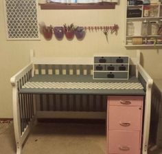Repurpose used baby crib into a craft room work space/desk {featured on Home Storage Solutions 101}