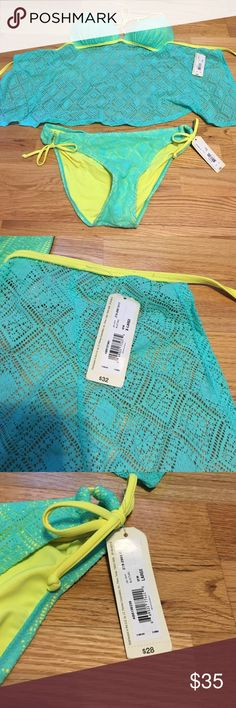 Blue and yellow swimsuit two piece NWT and still has the sticker lining on the bottoms. The top is XL but fits more like a L. The bottom is a L. Arizona Jean Company Swim Bikinis