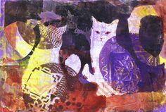Feline Face-Off by Sharon Giles acrylic monoprint / painting Illustration Art, Art Illustrations, Face Off, Vector Art, Art Photography, Acrylic Paintings, Animals, Holiday, Vacations