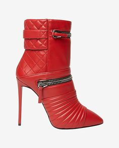 Giuseppe Zanotti Quilted Moto Stiletto Bottie: Red