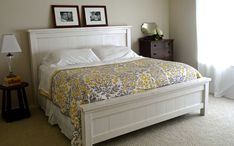 Browse our DIY bed frame designs article to find the best bed frame for your home! From floating beds to platforms, bed frames with storage, drawers, etc. White Gloss Bedroom Furniture, Home Bedroom, Bedroom Decor, Bedrooms, Master Bedroom, Girls Bedroom, Country Girl Home, Country Style, King Storage Bed