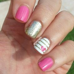 Pretty pink and glitter nails