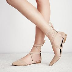 fbf8bb7e5 Nude Vegan Suede Pointy Toe Flats Strappy Flat Shoes US Size 3-15
