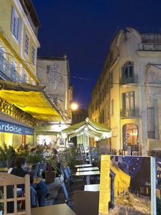 Scene of Van Gogh's painting, The night Cafe, Arles, France