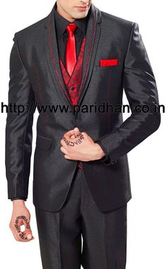 Remarkable mens party wear suit made in black color polyester fabric. It has bottom as trouser.