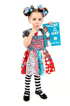 Boutique custom handmade back to school dress, Dr. Seuss Cat in the Hat,  twirl dress, 12mo, 18-24mo, 2t, 3t, 4/5, 6/7. $48.00, via Etsy.