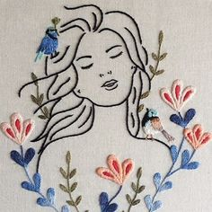 Vento nos cabelos {feel the wind} Flower Embroidery Designs, Creative Embroidery, Simple Embroidery, Hand Embroidery Stitches, Modern Embroidery, Embroidery Hoop Art, Cross Stitch Embroidery, Contemporary Embroidery, Crochet