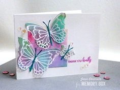 Wondering what the other designs from the Morning Garden Butterflies look like? Here they are - with their matching Butterfly Ensemble backgrounds. Hello, Jean Okimoto here, with more butterflies from Butterfly Cards Handmade, Butterfly Crafts, Making Greeting Cards, Greeting Cards Handmade, Memory Box Cards, Memory Box Dies, Karten Diy, Bee Cards, Embossed Cards