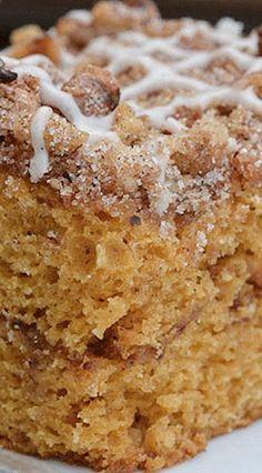 Spiced Pumpkin Coffee Cake Recipe | Repinned by Itzy Ritzy