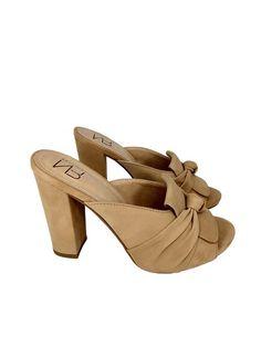 c3e527b7d1 NR Fashion Shoes · Sandálias Verão 2019 · Tamanco Mule Nobuck Bege