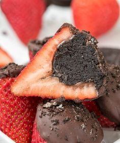 Oreo cookies and cream cheese combine to make the fudgy chocolate truffles that fill these strawberries. But don't stop there: dipping the tops in chocolate is what makes these a true chocoholic's dream.