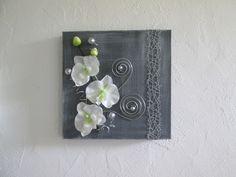 Tableau 3D avec fleurs artificielles, orchidée blanche, moderne,art floral, composition florale, mariage, cadeau : Décorations murales par boutik08