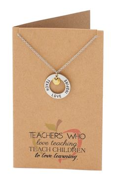 Bryce Teachers Gifts, Teach Love Inspire Necklace and Thank You Card – Quan Jewelry Teacher Appreciation Gifts, Teacher Gifts, Appreciation Quotes, Student Teacher, Elementary Teacher, Personalised Pens, Personalized Gifts, Teacher Thank You Cards, Teacher Gift Baskets