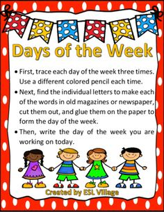 Days of the Week from ESL Village on TeachersNotebook.com -  (7 pages)  - This set has been designed to help students when learning days of the week.    It includes 7 pages. Every page features a day of the week.