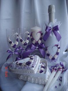 """Купить Свадебный комплект """"Сердечко"""", лиловый. - темно-фиолетовый, свадебные аксессуары, свадебное шампанское"""