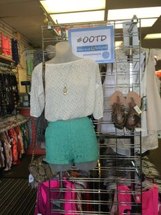 Does your #ootd beat this? White long sleeve, size S, $5. Charlotte Russe shorts, size S, $6. Forever 21 sandals, size  6, $10. Crossover bag by Jessica Simpson, $14. So necklace, $3.