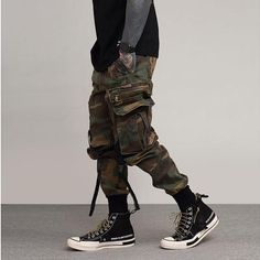 Autumn New Camouflage Cargo Pants Men Military Camo Buckle Straps Streetwear Jogger Pants Men Trousers Men Trousers, Cargo Pants Men, Jogger Pants, Sweat Pants, Men's Pants, Harem Trousers, Mens Cargo, Skinny Pants, Camouflage Cargo Pants