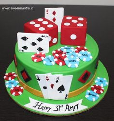 Gambling, Cards, Casino, Poker theme small customized designer fondant cake for husband's birthday at Pune. For my other creations, plea. 3d Cakes, Fondant Cakes, Tortellini, Poker Cake, Cake For Husband, Engagement Cakes, Wedding Engagement, Husband Birthday, 40th Birthday