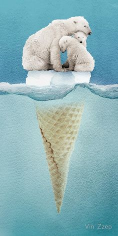 by Vin Zzep: polar ice cream cap 02 Art Print Polar Bear Ice Cream, Polar Bear Drawing, Visual Metaphor, Surrealism Photography, Canvas Prints, Art Prints, Bear Art, Environmental Art, Collage Vintage