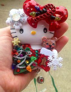 Hello Kitty and Teddy Christmas Time ID Badge Reel Holder Lanyard | evezbeadz - Accessories on ArtFire