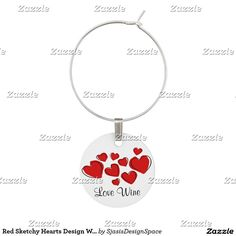 Red Sketchy Hearts Design Wine Charm