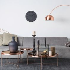 ZUIVER CUPID LIVING ROOM SIDE TABLE in Metallic Copper Finish | Grey Living Room | Grey and Copper | Copper Tables