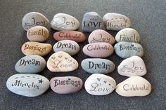 20 Engraved Stones Fancy Stones  Wedding Stones by SandStudios, $200,00