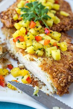 Hawaiian Coconut Chicken with Fresh Pineapple Salsa