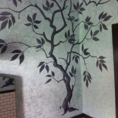 Another angle of a mural I'm painting in our bathroom.