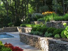 Traditional Landscape Tiered Landscape Design, Pictures, Remodel, Decor and Ideas Terraced Landscaping, Modern Landscaping, Front Yard Landscaping, Landscaping Ideas, Terraced Backyard, Terraced House, Outdoor Landscaping, Retaining Wall Design, Stone Retaining Wall