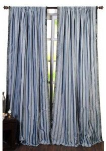 "Curtain Lurex Stripe 96"" Chocolate Blue Mix"