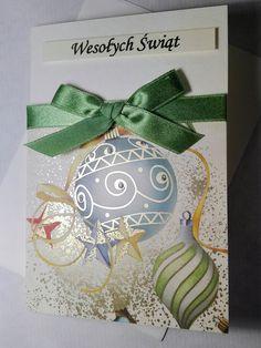 Christmas handmade card with powdered gold. Kartka świąteczna.