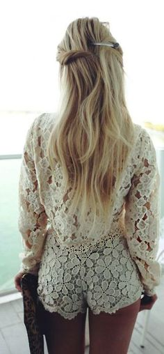 White Lace Summer Suit by Casey's Collection