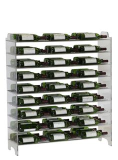 """81 Bottle Evolution System for $899.00. Find this and more at WineRacks.com.     VintageView introduces the Evolution Series    Evolution is a groundbreaking label-forward racking system incorporating acrylic panels and steel support rods.  An innovative solution for commercial and residential projects requiring a truly modern look and feel for storing wine and spirits.    81 Bottle Evolution system - 3 Bottles Deep  47"""" high x 13.5"""" deep x 40 3/8"""" wide"""