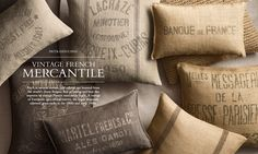 Throw pillows from old burlap bags. Probably not the most comfy, but still pretty awesome!