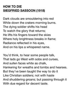 The War Poems of SIEGFRIED SASSOON | Letras | Pinterest | Poem