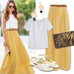 Make the most of this sun and shine like the sunshine in this yellow and white combination selected by the TrovaModa team.  #trovamoda #team #yellow #white #long #skirt #flats #sunnyday #summer #goodweather #friday #weekend #happy #sunny #day #outfitoftheday #selection #promod #girl #smile #beautiful #shine