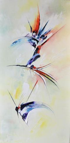Colibri (Painting), cm by Kristeen Van Ryswyck Landscape Art Quilts, Landscape Artwork, Bird Painting Acrylic, Watercolor Art, Sculpture Art, Art Drawings, Abstract Art, Art Gallery, Deco