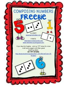 FREEBIE! Composing Numbers/Addition: Kindergarten Math Workpage.