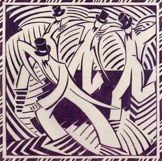 Lill Tschudi (Swiss, 1911-2004) Stepdancing Linocut printed in mauve, 1936, an excellent impression, on buff oriental laid tissue, a proof aside from the edition of 50, with margins, 327 x 327mm (12 7/8 x 12 7/8in) (B)