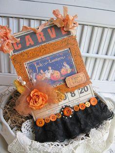 vintage style CARVE bingo card children pumpkins altered plaque sign decoration