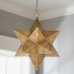 Pierced Moravian Star Pendant - Large - Shades of Light Moravian Star Light, Star Chandelier, Cottage Lighting, House Lighting, Entry Way Design, Contemporary Pendant Lights, Diffused Light, Star Designs, Star Pendant