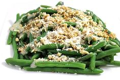 Skinny Green Beens, Caesar-Style. Watch boring, steamed green beans come alive when made like a Caesar salad. This dish is so good served warmed. Each serving has 82 calories, 3g fat & 2 Weight Watchers POINTS PLUS. http://www.skinnykitchen.com/recipes/skinny-green-beens-caesar-style/